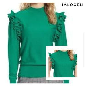 🆕Halogen Green Ruffled Sweater Size MP